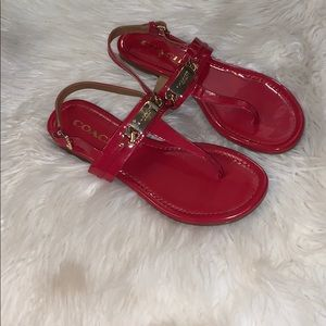 Coach Red Thong Sandals